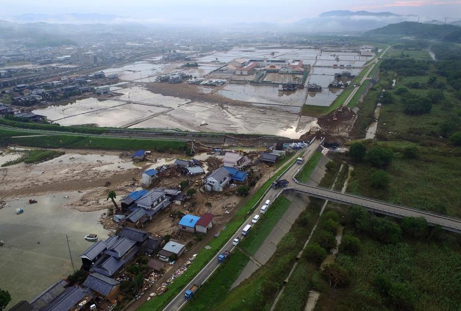 Ulewne deszcze w Japonii /JIJI PRESS /PAP/EPA