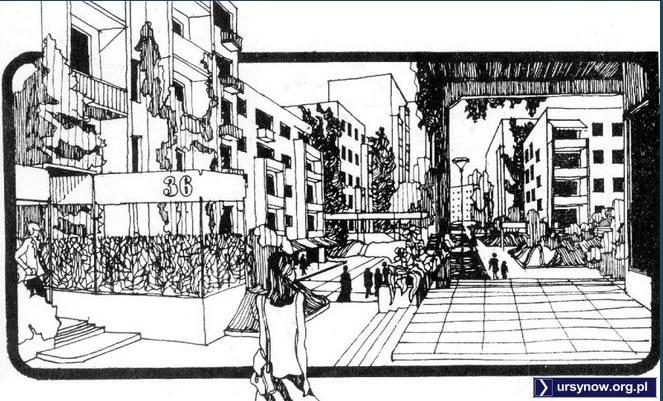 """Uliczka - Rysunek zamieszczony w czasopiśmie """"Architektura"""" z 1975 roku /Printscreen ursynów.org /INTERIA.PL"""