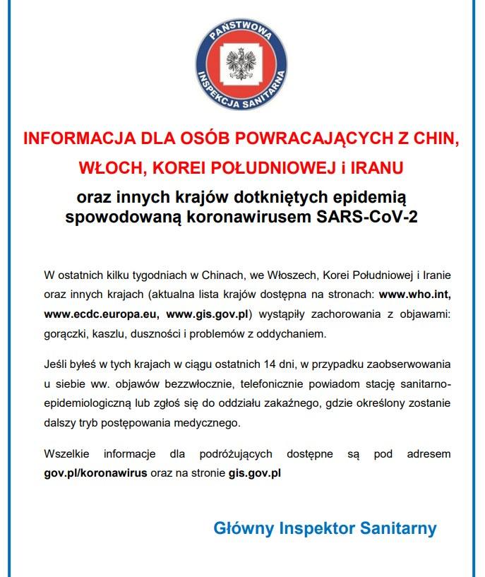 Ulotka dla podróżnych przygotowana przez GIS /gis.gov.pl /