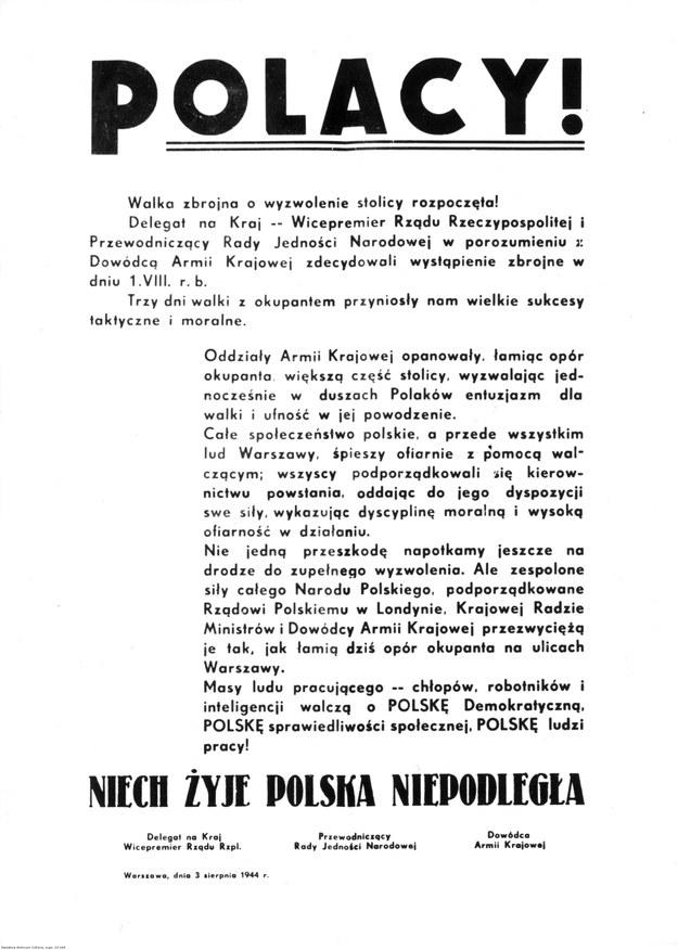 Ulotka dowództwa Armii Krajowej wydana trzy dni po rozpoczęciu powstania /Z archiwum Narodowego Archiwum Cyfrowego