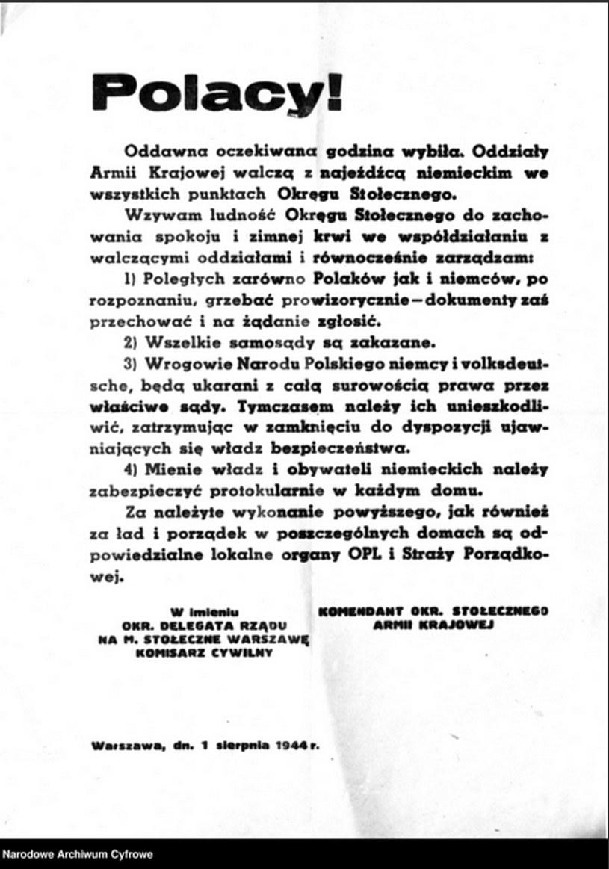 Ulotka dowództwa Armii Krajowej zawiadamiająca o rozpoczęciu powstania /Ze zbiorów Narodowego Archiwum Cyfrowego