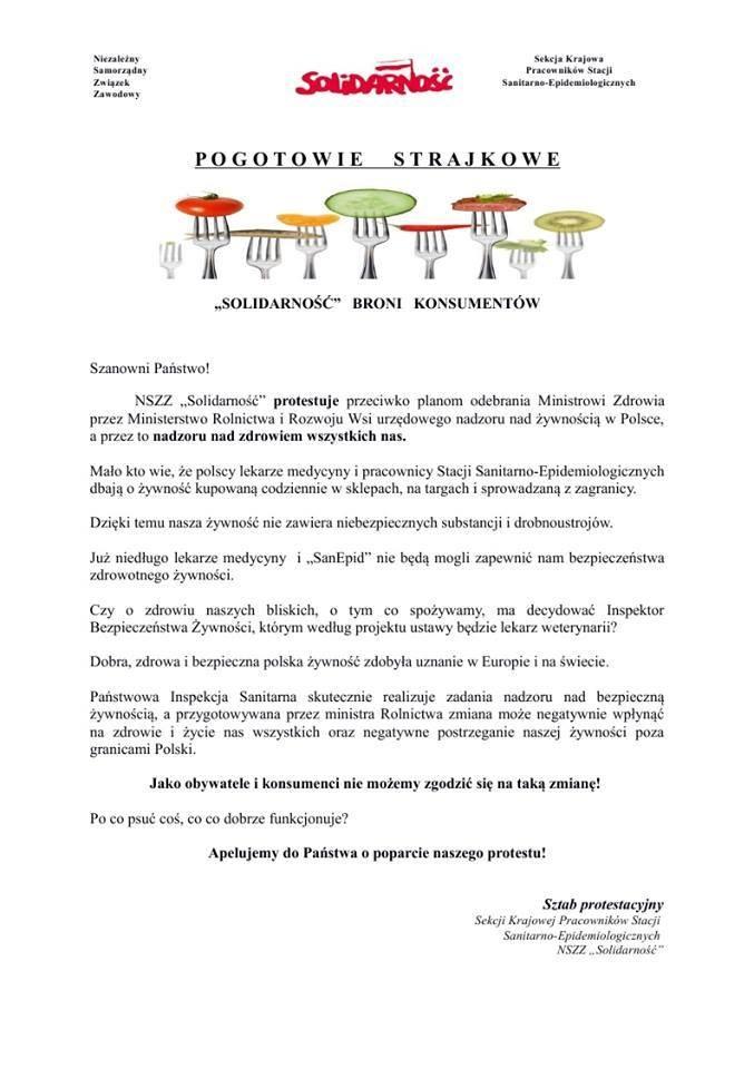 Ulotka informacyjna wydana przez Sztab Protestacyjny /Sanepid Solidarność /facebook.com