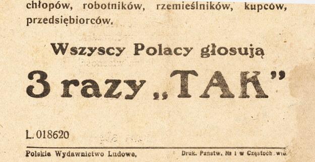 Ulotka propagandowa komunistów /reprodukcja FoKa /Agencja FORUM