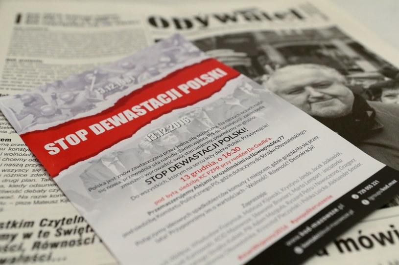 Ulotka zapraszająca na manifestację KOD /Adam Jankowski /Reporter