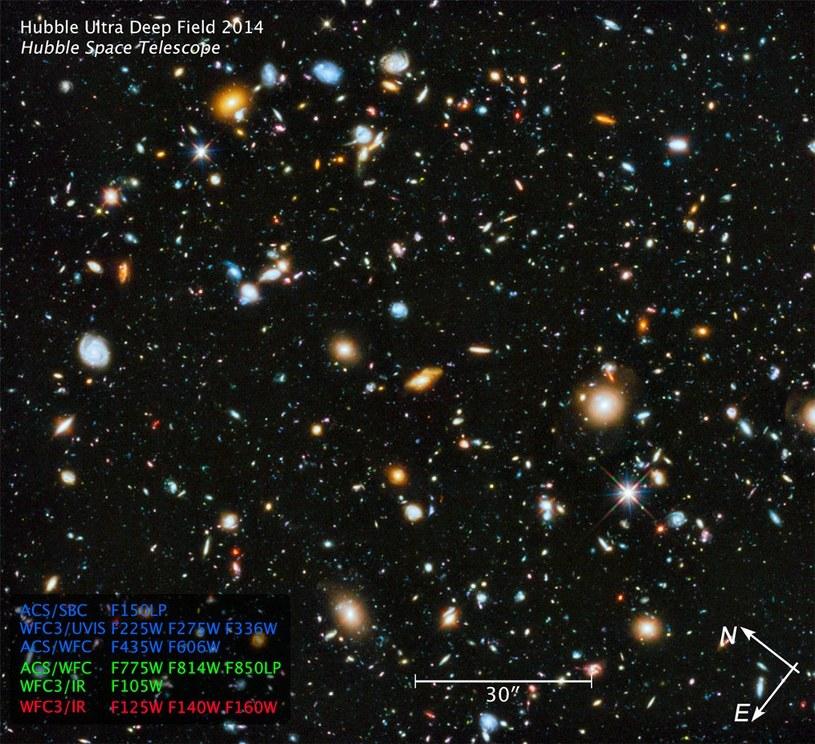 Ultrafioletowa część Ultra Głębokiego Pola Hubble'a. /materiały prasowe