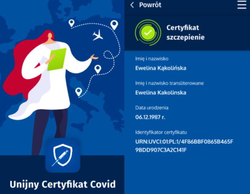 Unijny Certyfikat COVID - zrzuty ekranu z aplikacji w wersji dla systemu Android /materiały prasowe