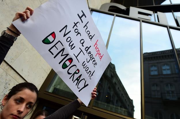 Uniwersytet Środkowoeuropejski w Budapeszcie, manifestacja w obronie uczelni /AFP