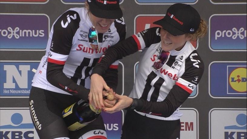 Unusual - Across Flanders: Ellen Van Dijk with Champagne bottle /Eurosport