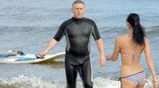 Uprawiał windsurfing pod okiem ukochanej!