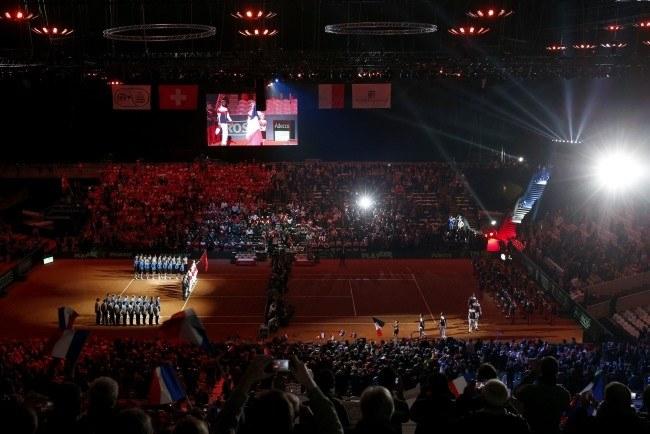 Uroczystość otwarcia finałowego turnieju Pucharu Davisa w Lille /AFP