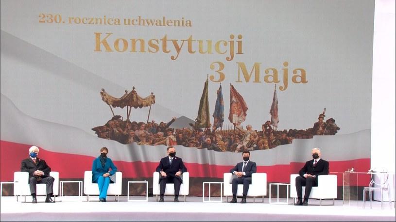 Uroczystość podpisania wspólnej deklaracji na Zamku Królewskim w Warszawie /Polsat News
