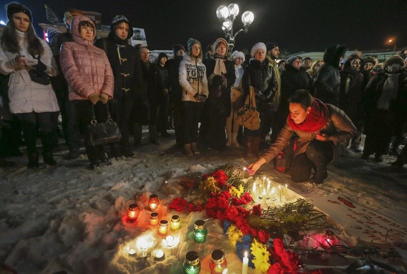 Uroczystość w Kijowie ku pamięci osób, które zginęły w konflikcie na wschodzie Ukrainy /PAP/EPA