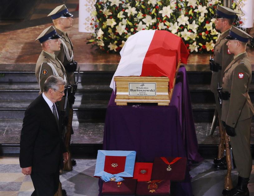 Uroczystości pogrzebowe profesora Władysława Bartoszewskiego. Prezydent Niemiec Joachim Gauck /Paweł Supernak /PAP