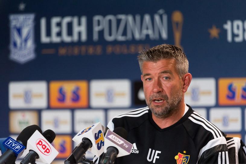 Urs Fischer podczas konferencji na stadionie Lecha Poznań /Jakub Kaczmarczyk /PAP