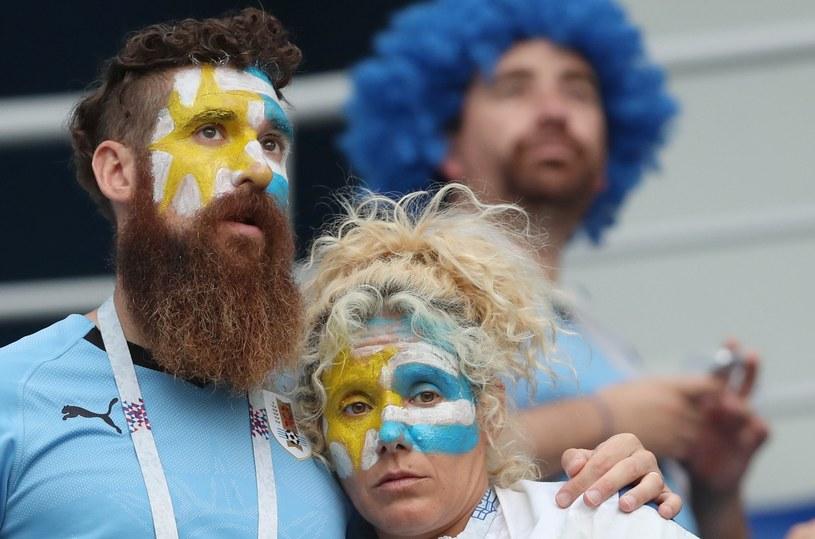 Urugwajscy kibice przeżywają odpadnięcie swojej reprezentacji z mistrzostw świata /PAP/EPA