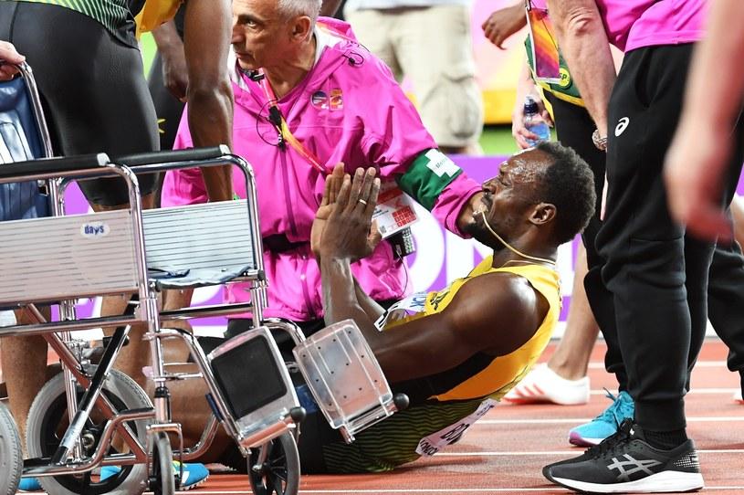 Usain Bolt doznał urazu na mistrzostwach świata w Londynie /ANDY RAIN /PAP/EPA