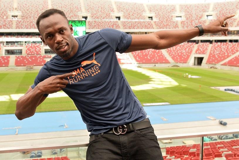 Usain Bolt na Stadionie Narodowym w Warszawie /AFP