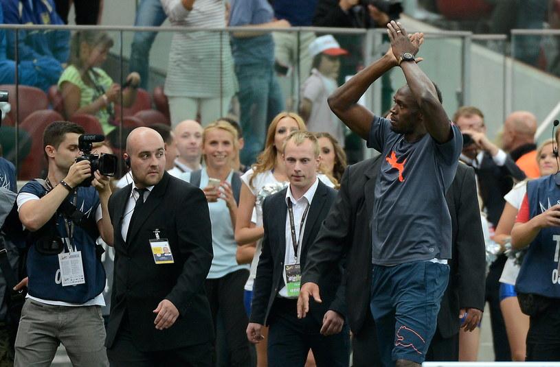 Usain Bolt na Stadionie Narodowym w Warszawie /Bartłomiej Zborowski /PAP