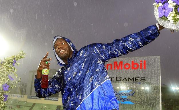 Usain Bolt świętuje zwycięstwo w Oslo /AFP