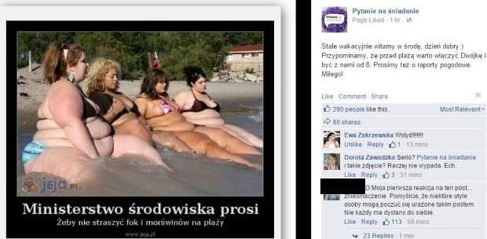 """Usunięty mem z facebooka """"Pytania na śniadanie"""" /Facebook"""