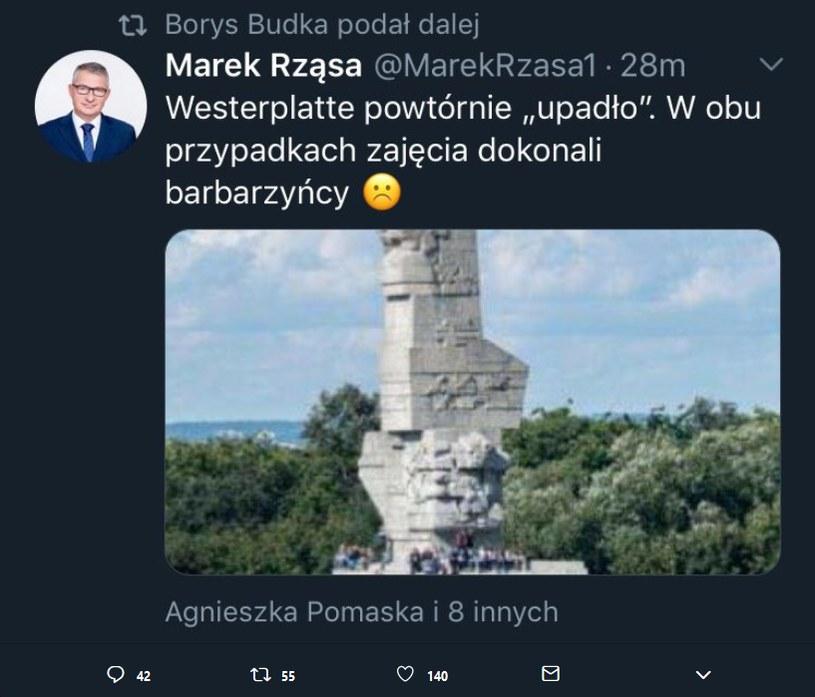 Usunięty wpis Marka Rząsy /Twitter