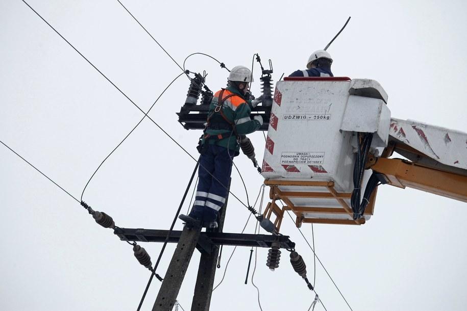 Usuwanie awarii linii energetycznych w miejscowości Dobrzyniewo Duże /Artur Reszko /PAP