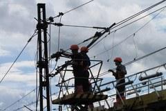 Usuwanie awarii trakcji w Smętowie na Pomorzu