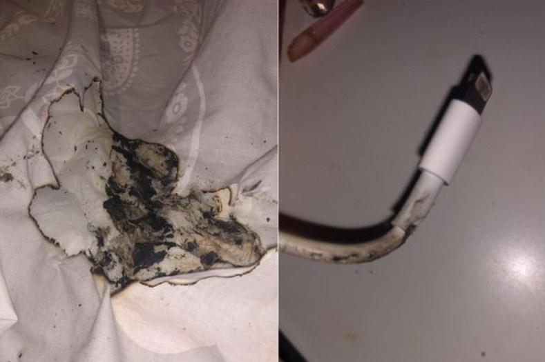 Uszkodzony przewód ładowarki. Fot. Birmingham Mail, zdjęcia z profilu facebookowego poszkodowanej dziewczyny /materiał zewnętrzny