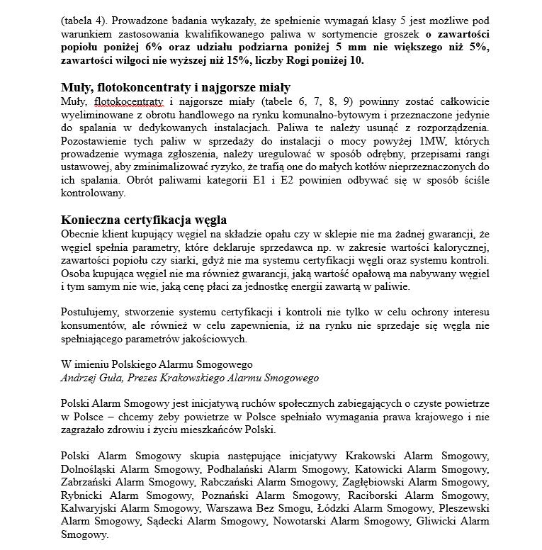 Uwagi Polskiego Alarmu Smogowego do projektu rozporządzenia Ministra Energii w sprawie wymagań jakościowych dla paliw stałych oraz do projektu ustawy o zmianie ustawy o systemie monitorowania i kontrolowania jakości paliw /Polski Alarm Smogowy /