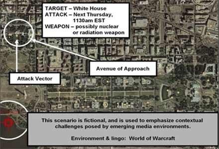 Użyta podczas gry mapa z wyznaczonym celem zamachu na terenie Waszyngtonu /HeiseOnline
