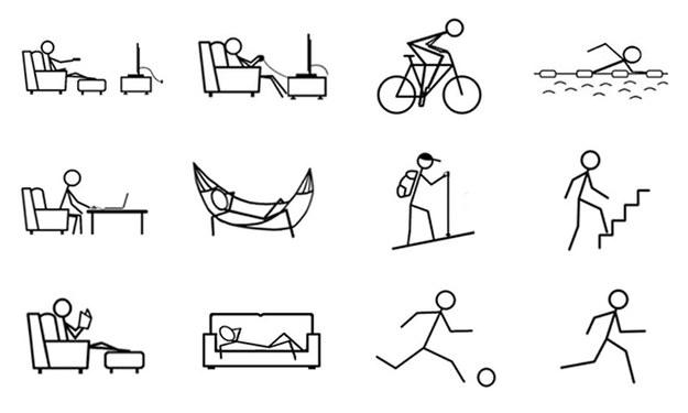 Użyte w eksperymencie ikonki, symbolizujace aktywność lub bezruch /UBC Media Relations /Materiały prasowe