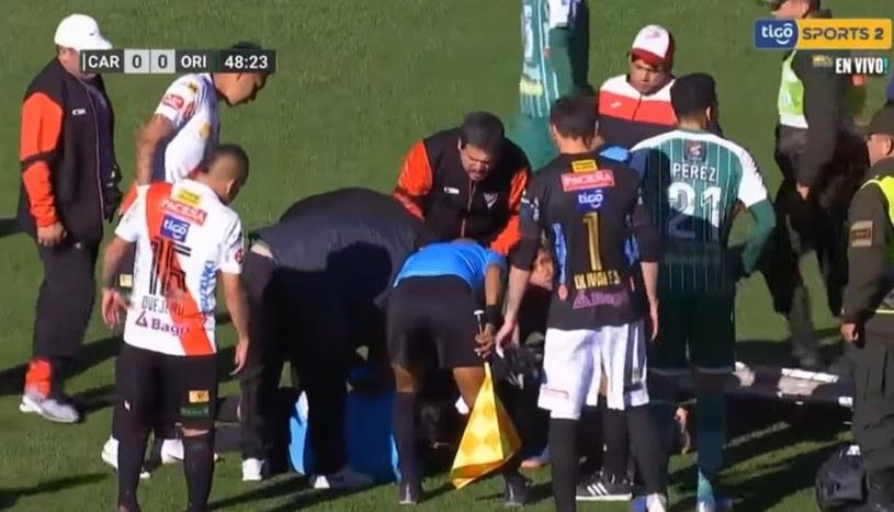 Victor Hugo Hurtado doznał zawału serca podczas meczu; źródło: youtube /