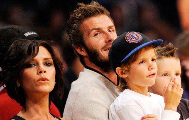 Victoria i David Beckham z synami, fot. Kevork Djansezian  /Getty Images/Flash Press Media