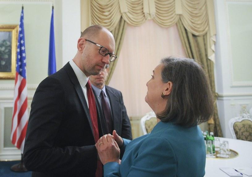 Victoria Nuland io Arsenij Jaceniuk /PAP/EPA