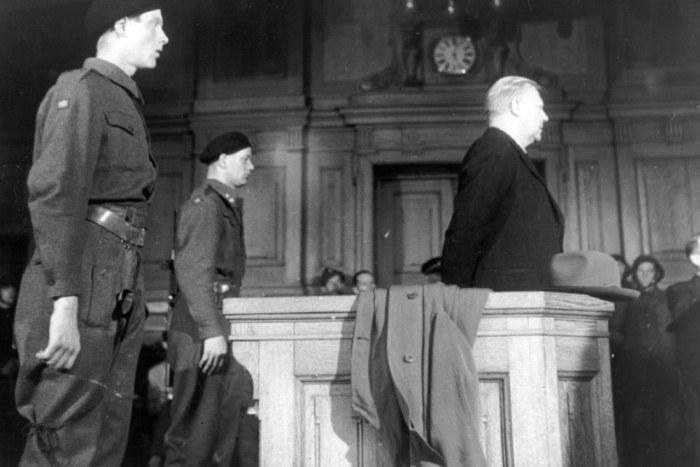 Vidkun Quisling na procesie w 1945 roku. Stał się on symbolem kolaboracji z Niemcami /Wikimedia Commons – repozytorium wolnych zasobów /INTERIA.PL/materiały prasowe