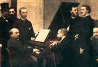 Vincent d'Indy (z profilu, drugi z lewej), Wokół pianina, Fantin-Latour /Encyklopedia Internautica