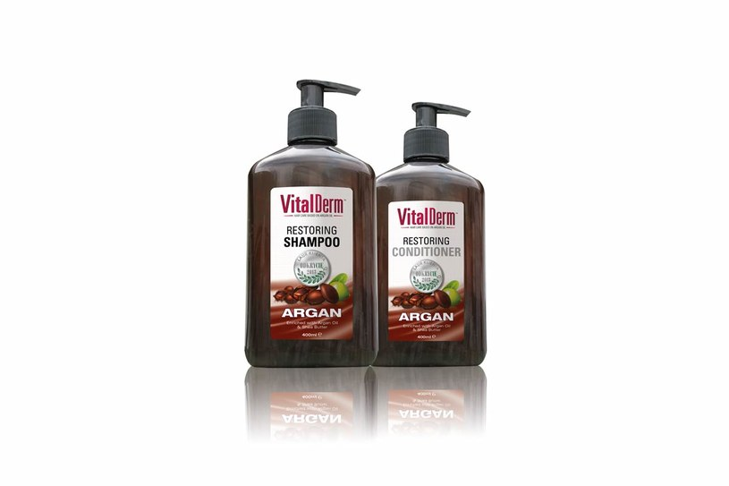 VitalDerm – odbudowujący szampon i odżywka do włosów z olejem arganowym /Styl.pl/materiały prasowe