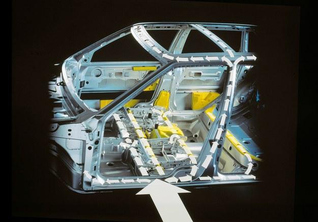 Volvo wprowadziło system SIPS, rozwinięcie wzmocnień montowanych od lat 70. Solidne poprzeczki w drzwiach i wzmocnienia w podłodze skutecznie rozpraszają energię uderzenia, fotele zamontowane na szynach mogą przesuwać się do środka auta. /Volvo