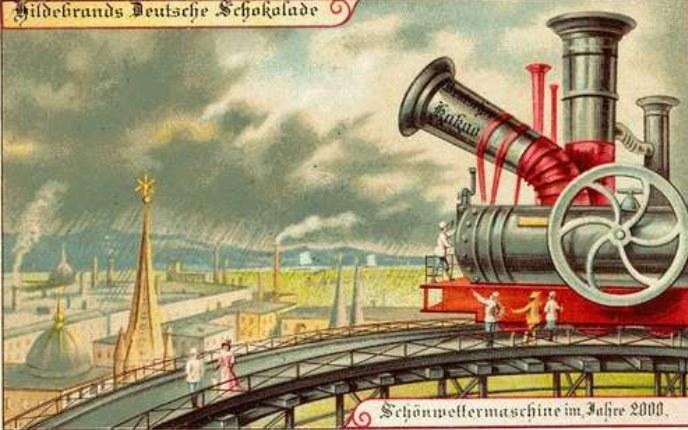 W 1900 roku wyobrażano sobie, że maszyny do kontroli pogody będą w powszechnym użyciu /Wikimedia Commons /materiały prasowe