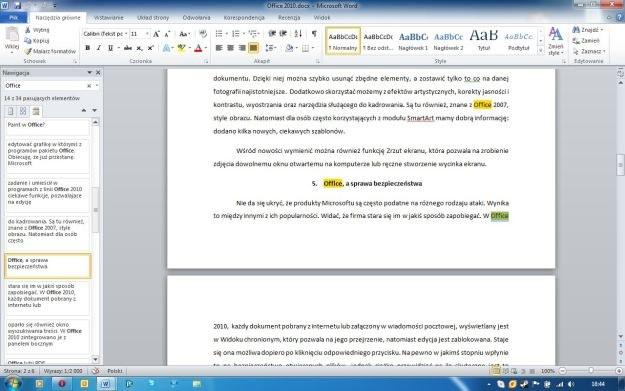 """W aplikacjach pakietu Office 2010 okno wyszukiwania zastąpiono panelem bocznym """"Nawigacja"""" /INTERIA.PL"""