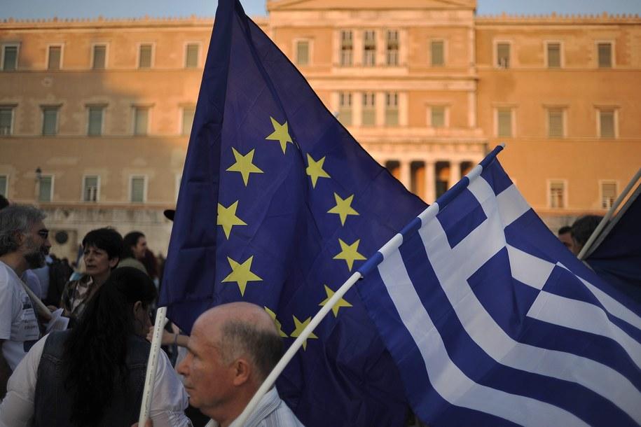 W Atenach manifestowali zwolennicy pozostania Grecji w strefie euro //FOTIS PLEGAS G. /PAP/EPA