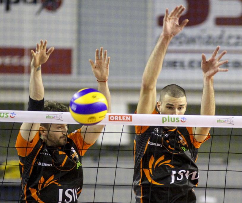 W bloku Michał Masny (L) i Jakub Popiwczak (P) z Jastrzębskiego Węgla /Michał Walczak /PAP
