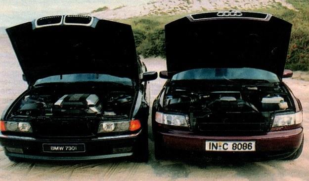 W BMW silnik V8 jest mechanizmem bardziej skomplikowanym niż jednostka Audi V6. Obydwa auta wyposażono w projektory soczewkowe ukryte w reflektorach. /Motor