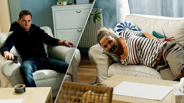W czasie tej rozmowy Tomek będzie trzymał wycelowany w nią pistolet. Następnie zwiąże ją i zaknebluje jej usta. /ARTRAMA