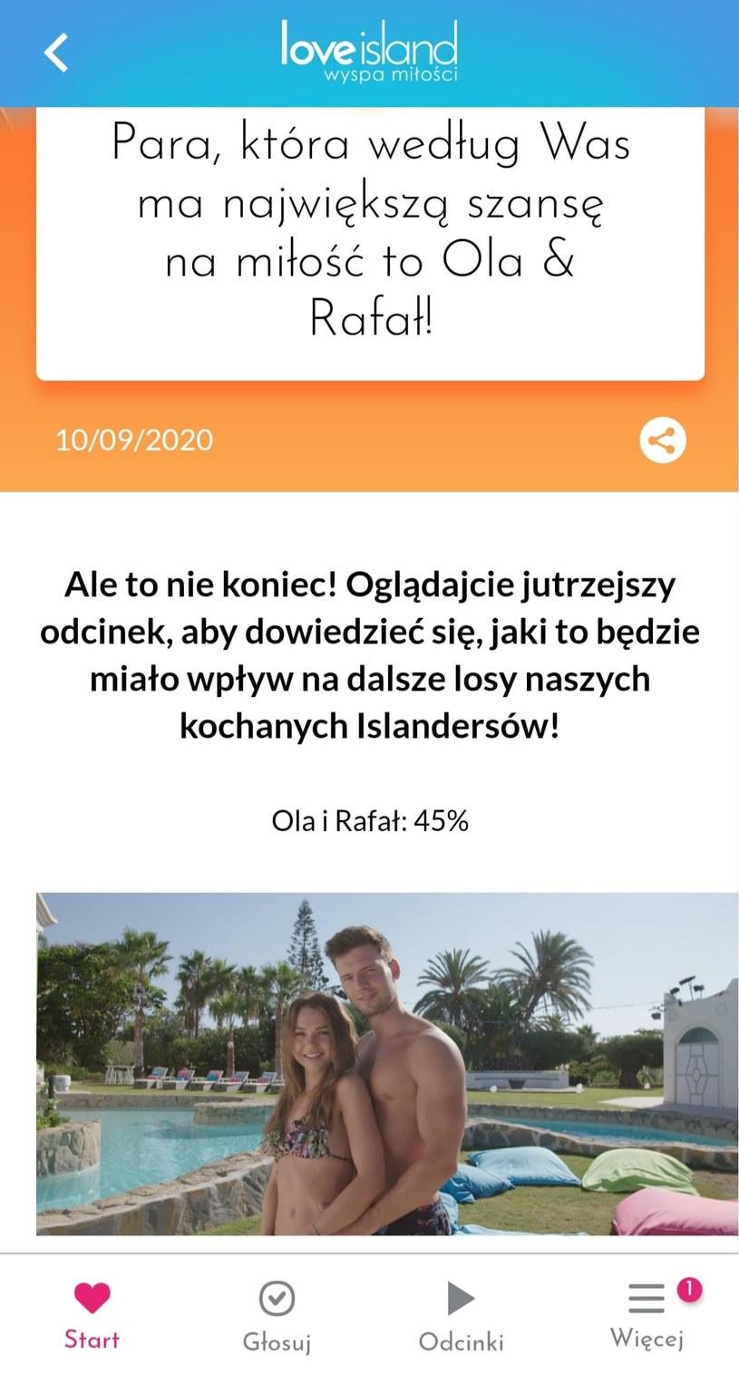 """W głosowaniu w aplikacji """"Wyspa miłości"""" na parę, która ma największą szansę na miłość wygrała Ola i Rafał /Polsat /Polsat"""