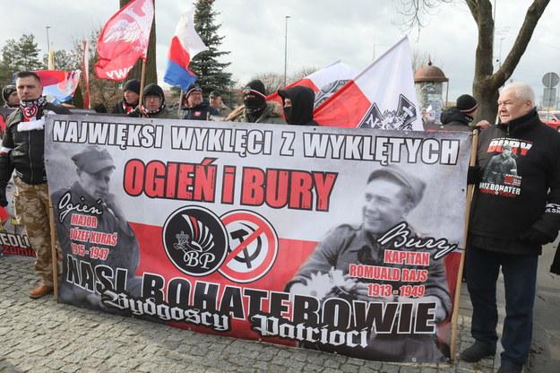 W Hajnówce (Podlaskie) rozpoczął się V Hajnowski Marsz Pamięci Żołnierzy Wyklętych, organizowany w niedzielę przez środowiska narodowe, m.in. ONR. / Artur Reszko    /PAP