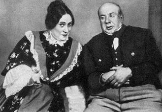 W.I. Pamiennaja (Kakuszkina) i I.W. Linskij (Jusow) w Intratnej posadzie A.N. Ostrowskiego w moskiewskim Teatrze Małym (premiera 1948  r.) /Encyklopedia Internautica