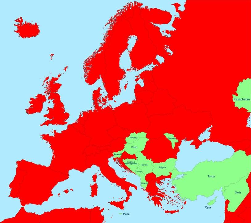 W miejscach zaznaczonych na zielono nie stwierdzono zakażenia koronawirusem /INTERIA.PL