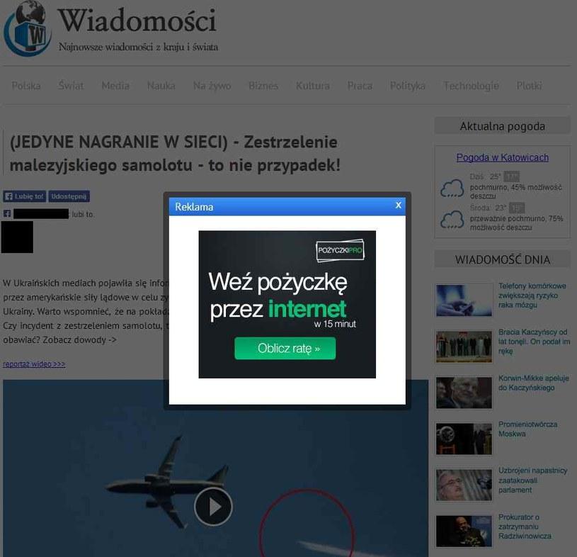 W momencie, gdy klikniemy w link, wyświetli się okno filmu i reklama /materiały prasowe