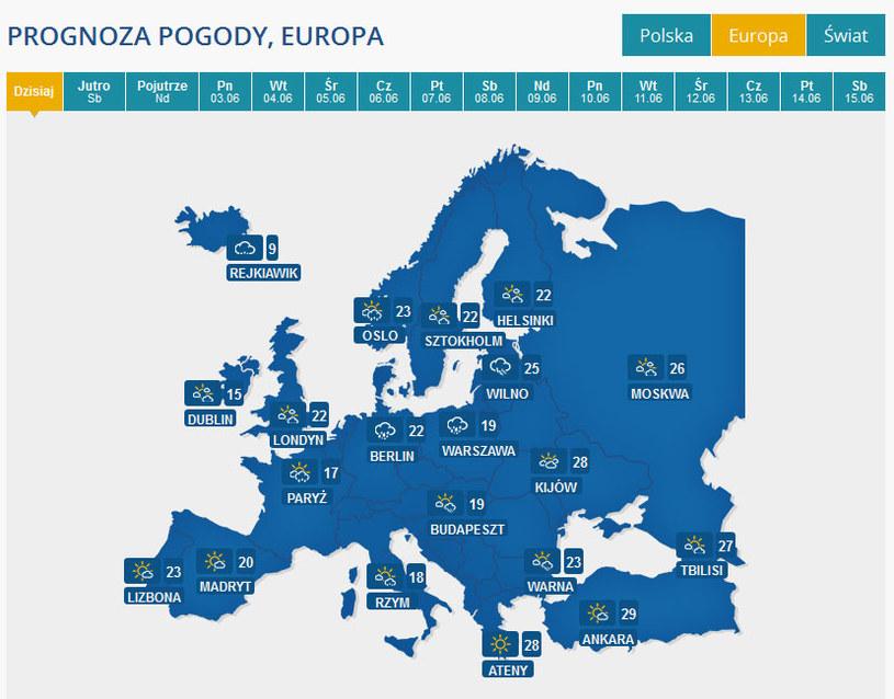 W naszym serwisie pogoda.interia.pl możecie sprawdzić także, jaka pogoda jest w Europie /INTERIA.PL
